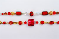 Beautiful red glass beads and crystals