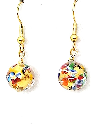 100% Murano Glass 10mm diameter round earrings in a colourful pattern in the style of Gustav Klimt over 24kt gold leaf on gold plated nickel free wires