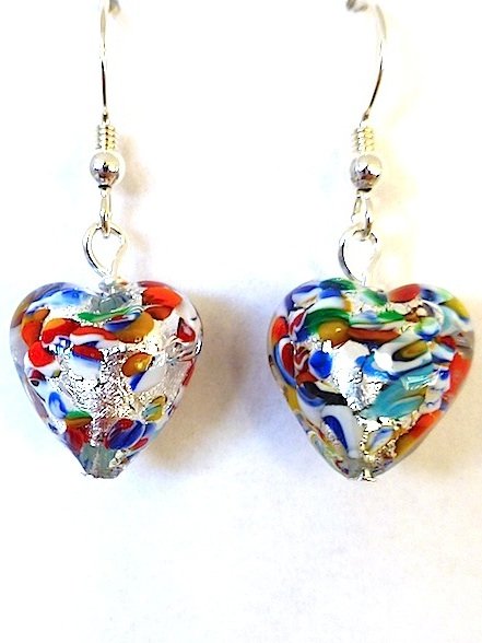 100% Murano Glass 13mm Klimt Style Heart Earrings over silver foil on sterling silver wires