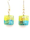 100% Genuine Murano Glass 12mm square earrings in a square pattern of aqua, lime, lime green and gold over 24kt gold leaf on gold plated nickel free wires