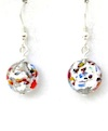 100% Murano 10mm Round Glass earrings in the KLIMT style over silver foil on sterling silver wires - approx. length 1.5cm