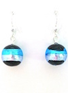 These 100% Murano Glass 12mm in diameter earrings have a brilliant two tone stripe over a black base. They are on sterling silver wires and hang approx. 2cm. PRICE $30.00