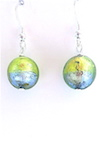 100% Murano Glass 12mm round earrings in brilliant blue and lime green over sterling silver foil encased in clear glass on sterling silver wires approx. 2cm in length