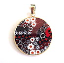 100% Murano Glass 26mm diameter Millefiore round pendant in colours of red, blacks and white with delicate daisy like flowers encased in a gold bezel. This pendant is on a 14kt gold filled 45cm snake chain and is presented in an elegant RITZYROCKS black display box making it the perfect present. PRICE -  65.00