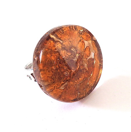 100% Murano glass 25mm round ring in shades of topaz over 24kit gold leaf on adjustable band